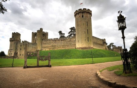 Warwick Castle with stocks