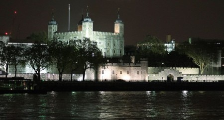 Tower of London on the Thames by night