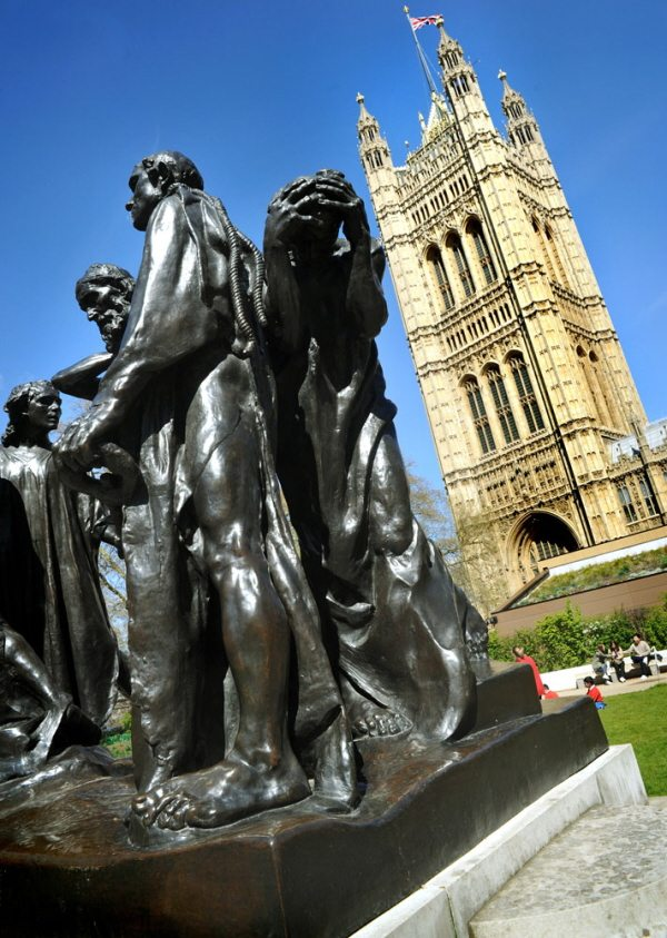 Houses of parliament and statue westminster London