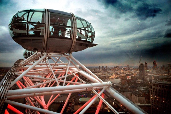 view from the London Eye at dusk
