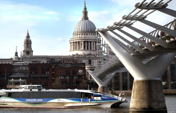 Thames Clipper on the River Thames by St paul's Cathedral