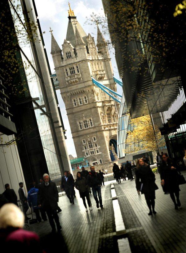 walking across Tower Bridge in London