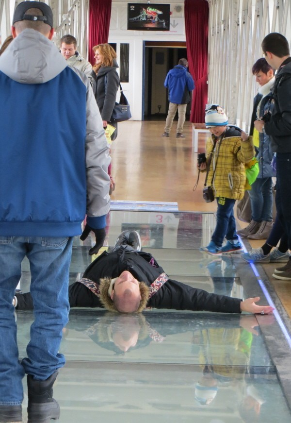 glass floor within the Tower Bridge Exhibition