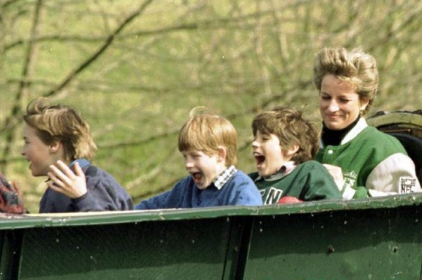 Princess Diana, Harry & William on the Log Flume at Alton Towers