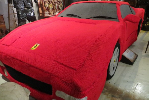 Knitted red ferrari at Ripley's London