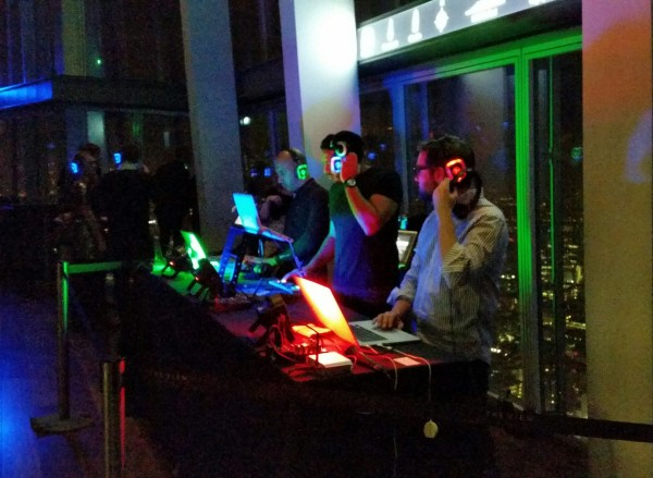 dj's at the silent disco at the shard
