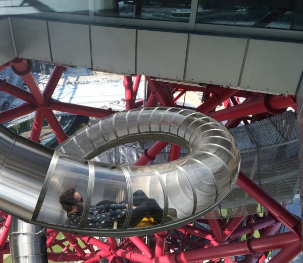 the mock up of the Orbit Slide at the Queen Elizabeth Olympic Park